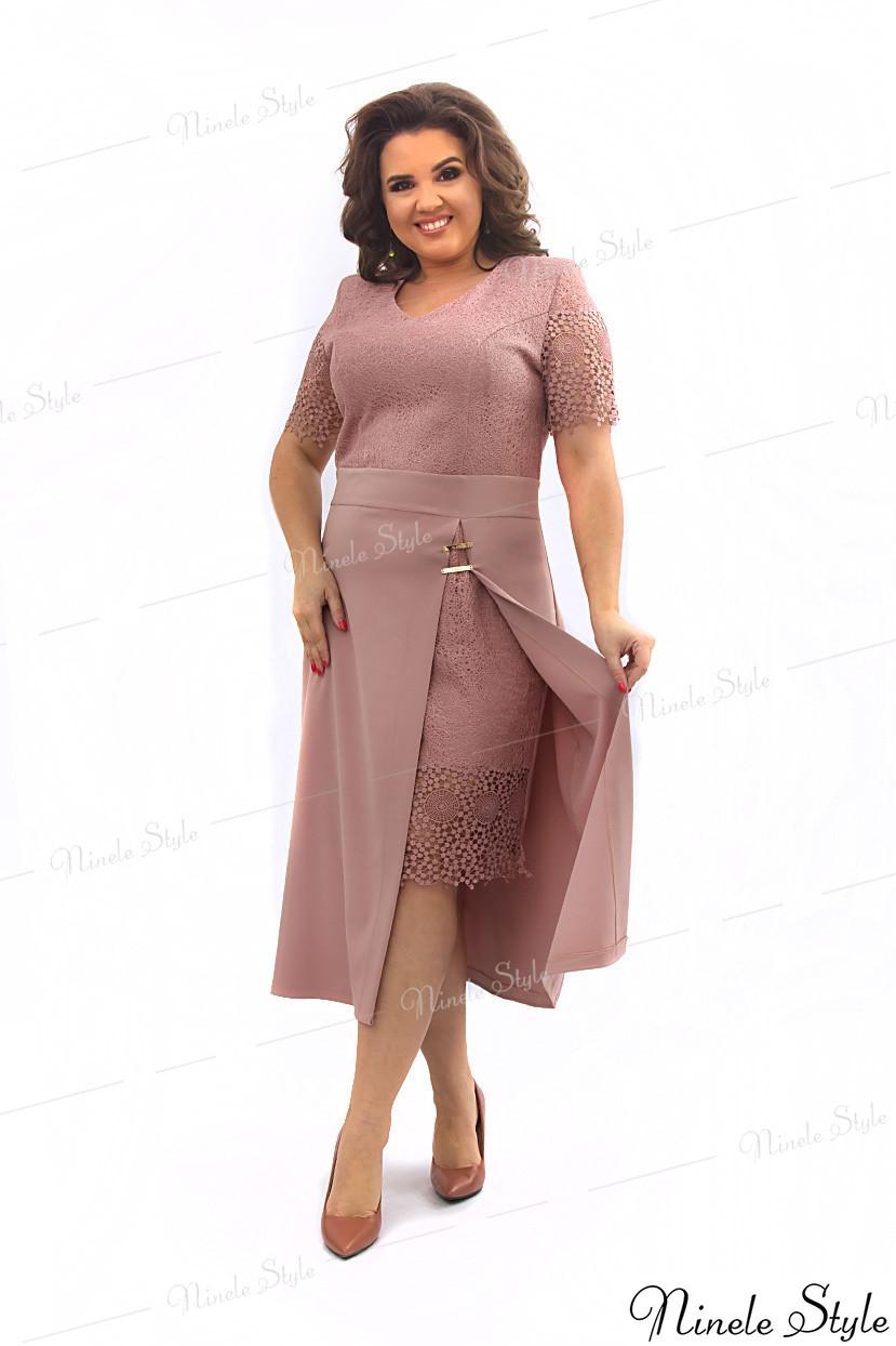 Бежевое кружевное вечернее женское платье из гипюра 347-5 54