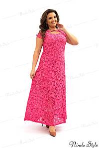 Коралловое гипюровое вечернее женское платье с открытой спиной  275-1 54