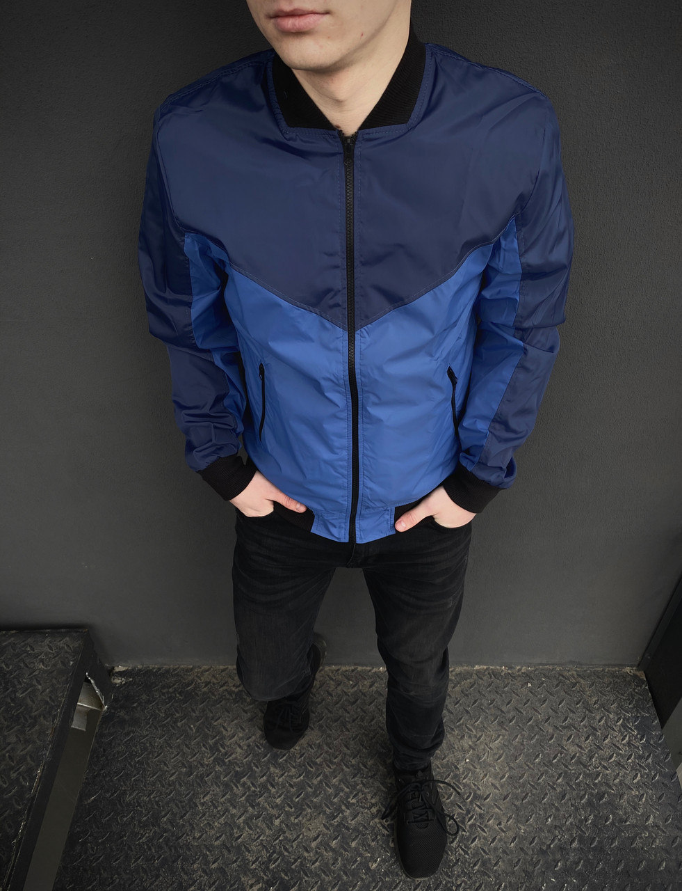 Бомбер синий - светло-синий мужской весенний осенняя куртка