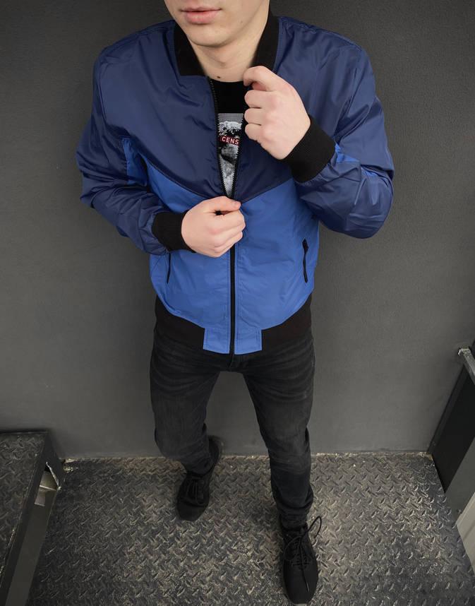 Бомбер синий - светло-синий мужской весенний осенняя куртка, фото 2