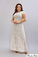 Белое гипюровое вечернее женское платье с открытой спиной 275-2 54