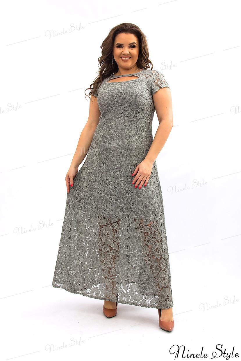 Светло-серое гипюровое вечернее женское платье с открытой спиной 275-3 54