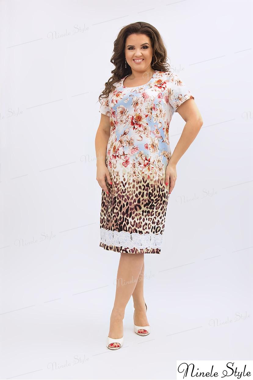 Оригинальное льняное женское платье-леопард 197 54