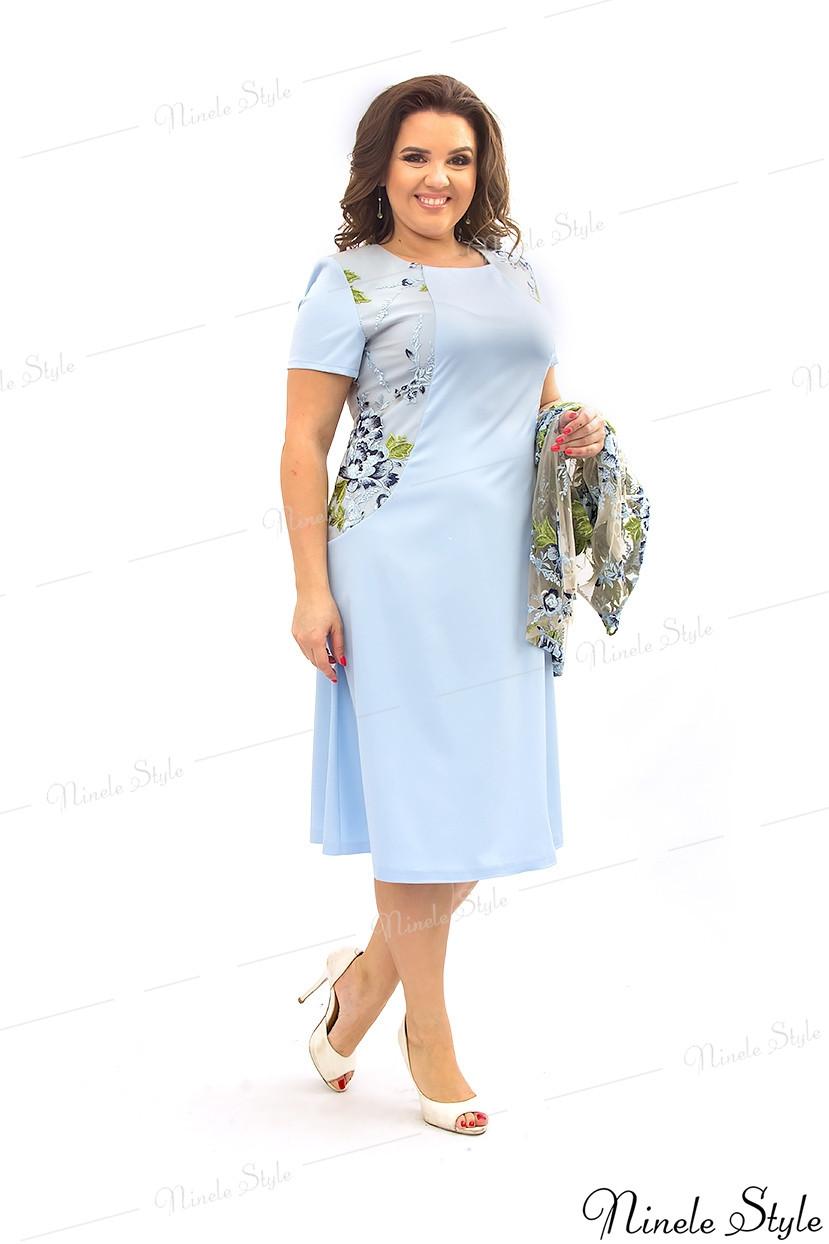Голубое женское платье с кружевной блузкой 355 56
