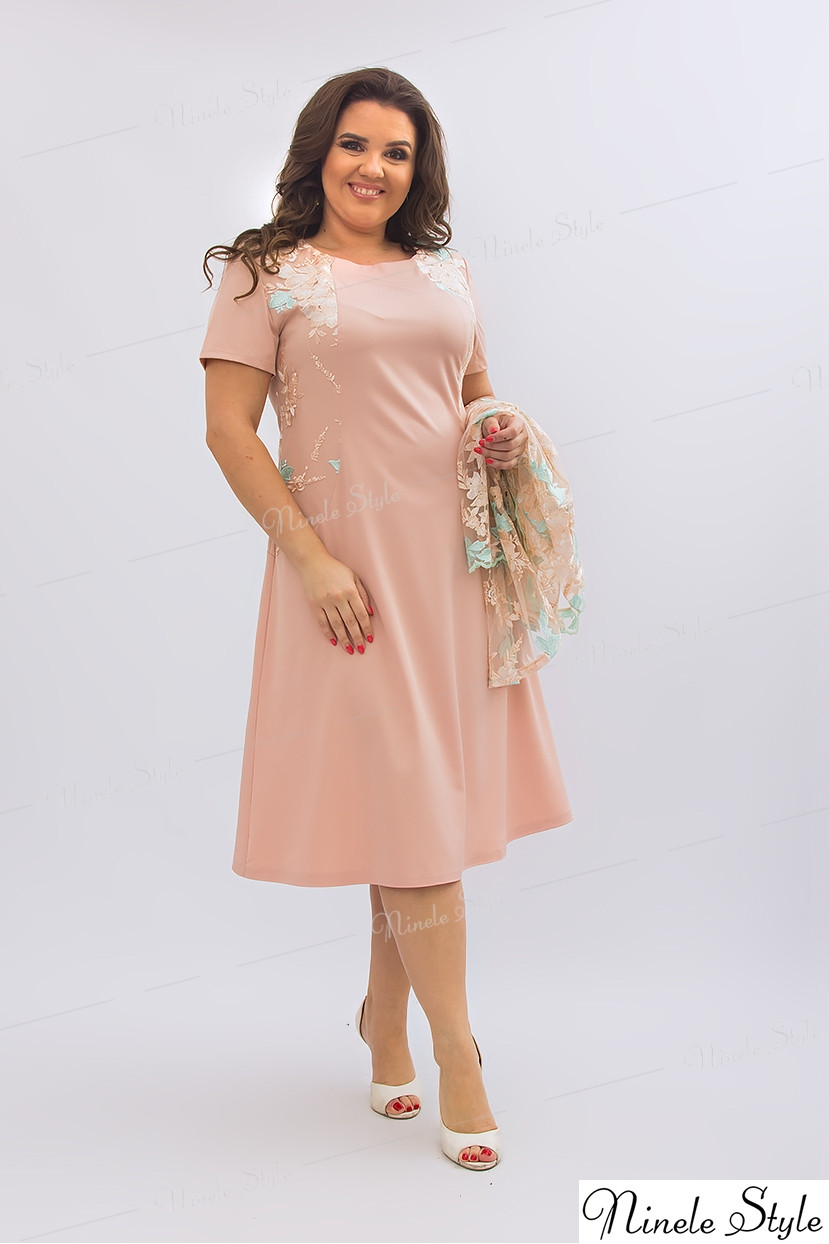 Бежевое женское платье с кружевной блузкой 355-2 56