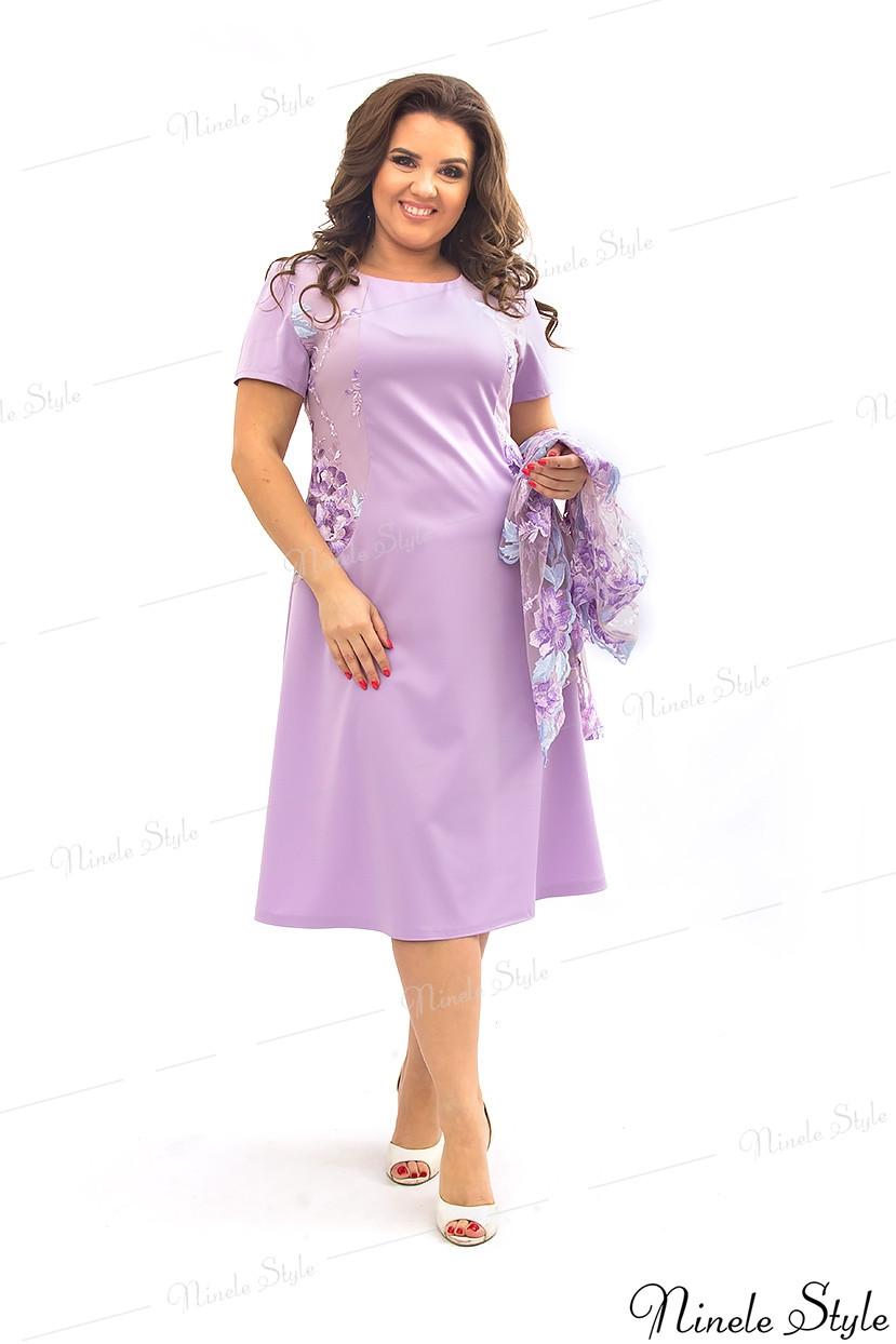 Сиреневое женское платье с кружевной блузкой  355-3 56