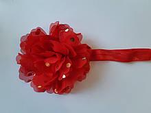 Повязка детская с цветком красная - окружность 34-48см, диаметр цветка 10см