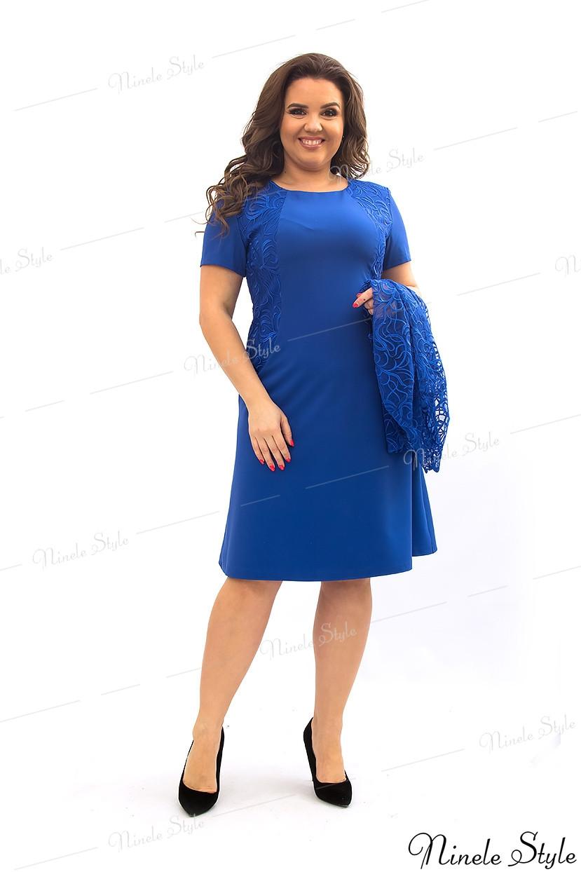 Синее женское платье с кружевной блузкой 355-8 56