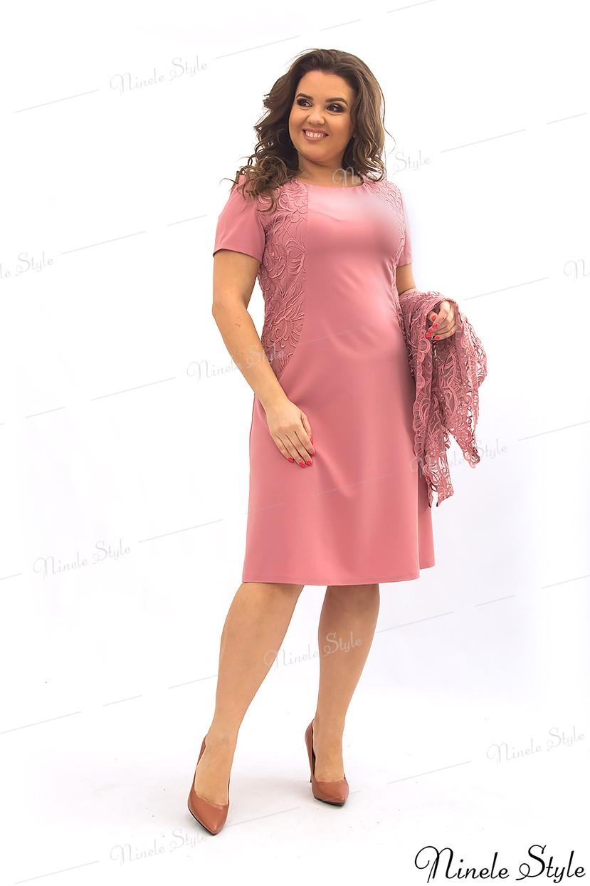 Коралловое женское платье с кружевной блузкой 355-7 56