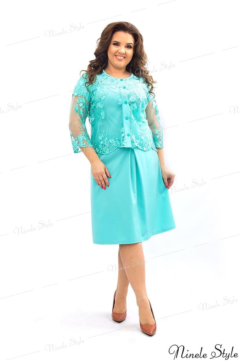Бирюзовое вечернее женское платье с болеро  349 54