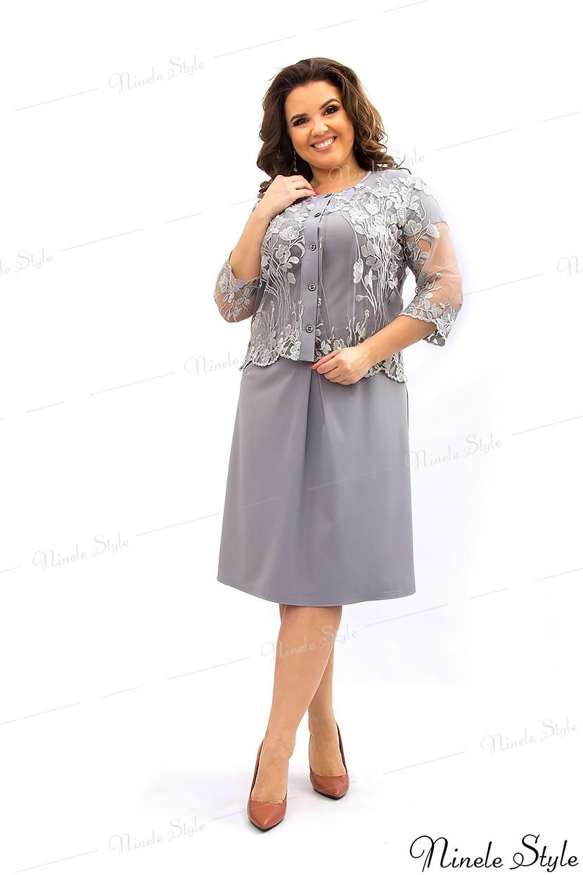Серое вечернее женское платье с болеро 349-2 54