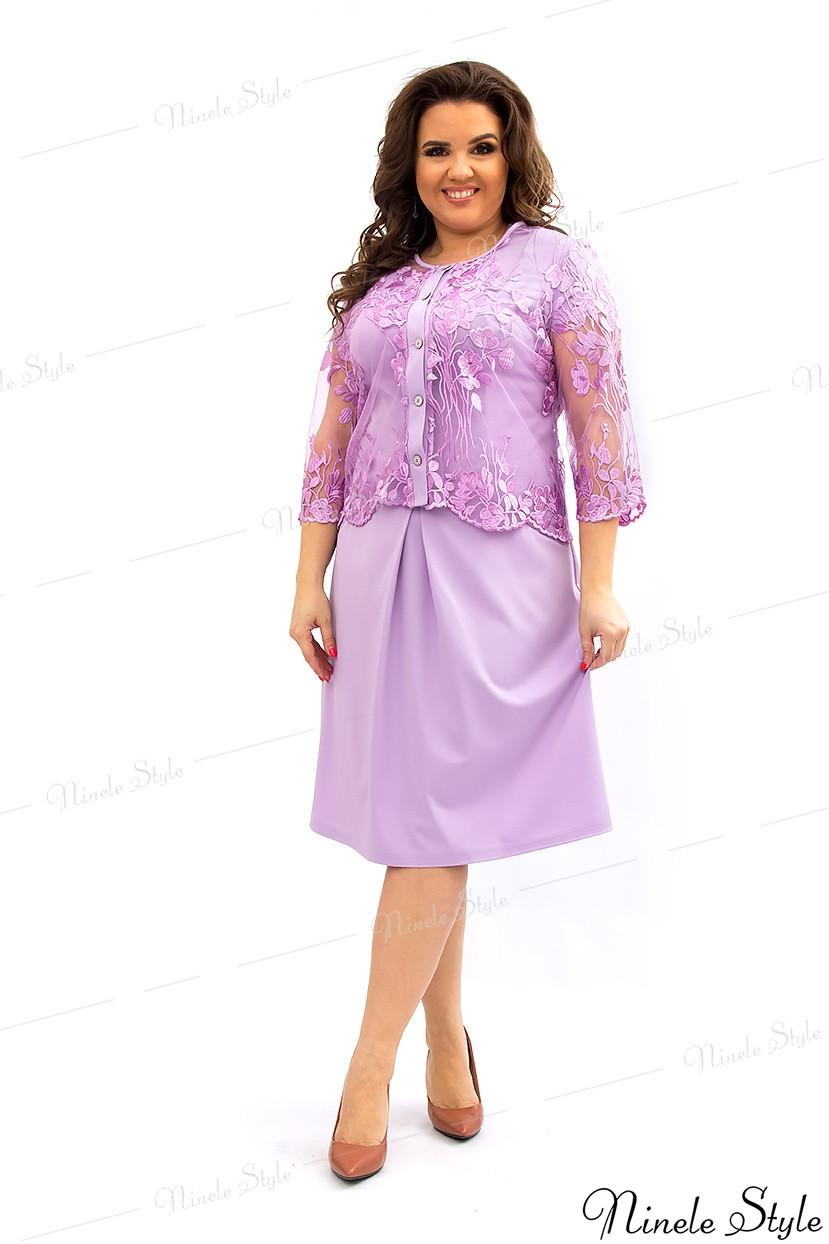 Сиреневое вечернее женское платье с болеро  349-3 54