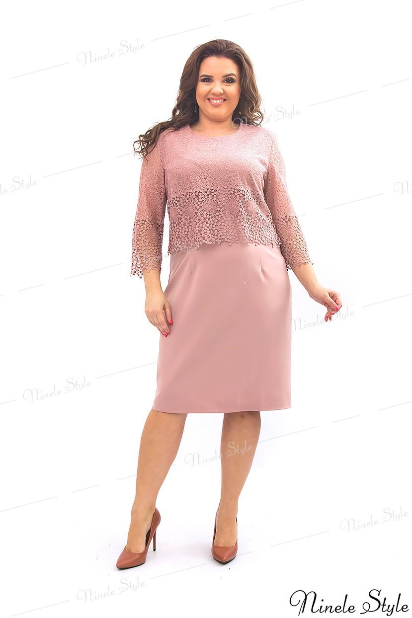 Гипюровое вечернее женское платье розового цвета 350-1 54