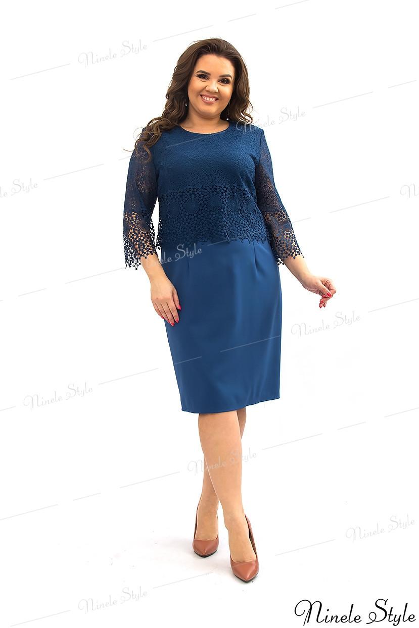 Гипюровое вечернее женское платье синего цвета 350-2 54
