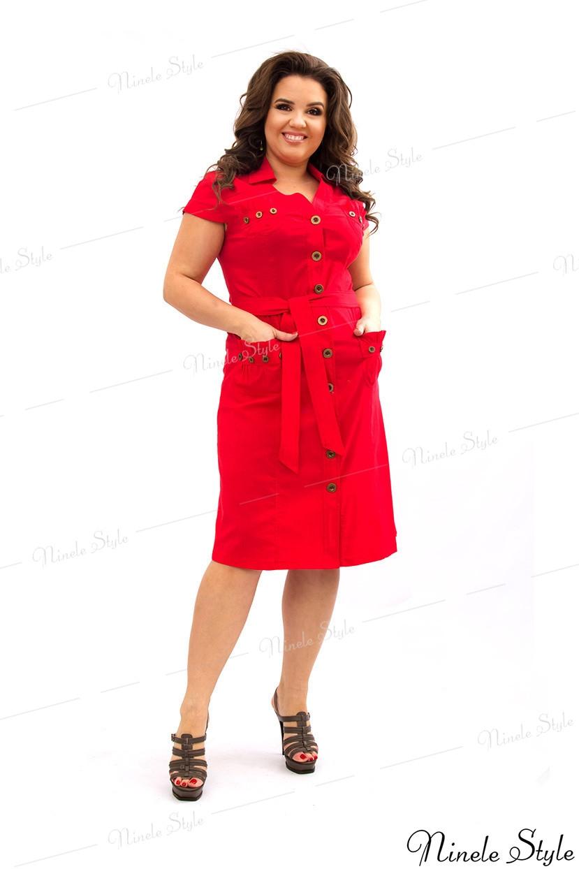 Коралловое женское платье в стиле сафари 360-1 56