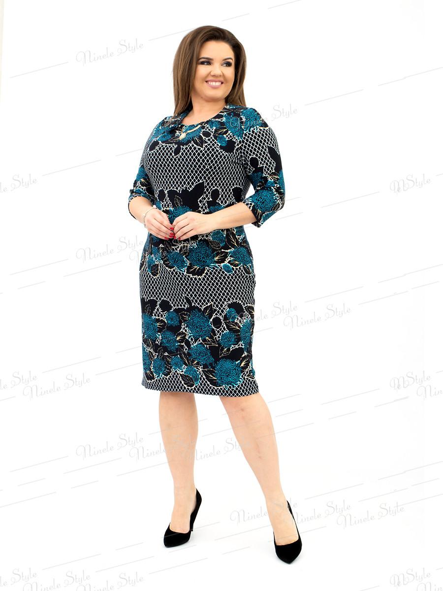 Повседневное трикотажное женское платье - бирюзовое 172-7 54