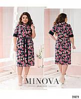 Элегантное женское платье с цветочным принтом в расцветках больших размеров 50 - 64