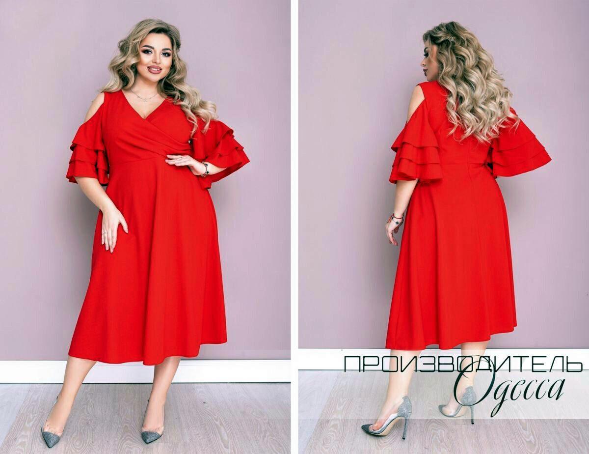 """Изысканное женское платье с открытыми плечиками, ткань """"Креп-Дайвинг"""" 52, 54 размер батал"""