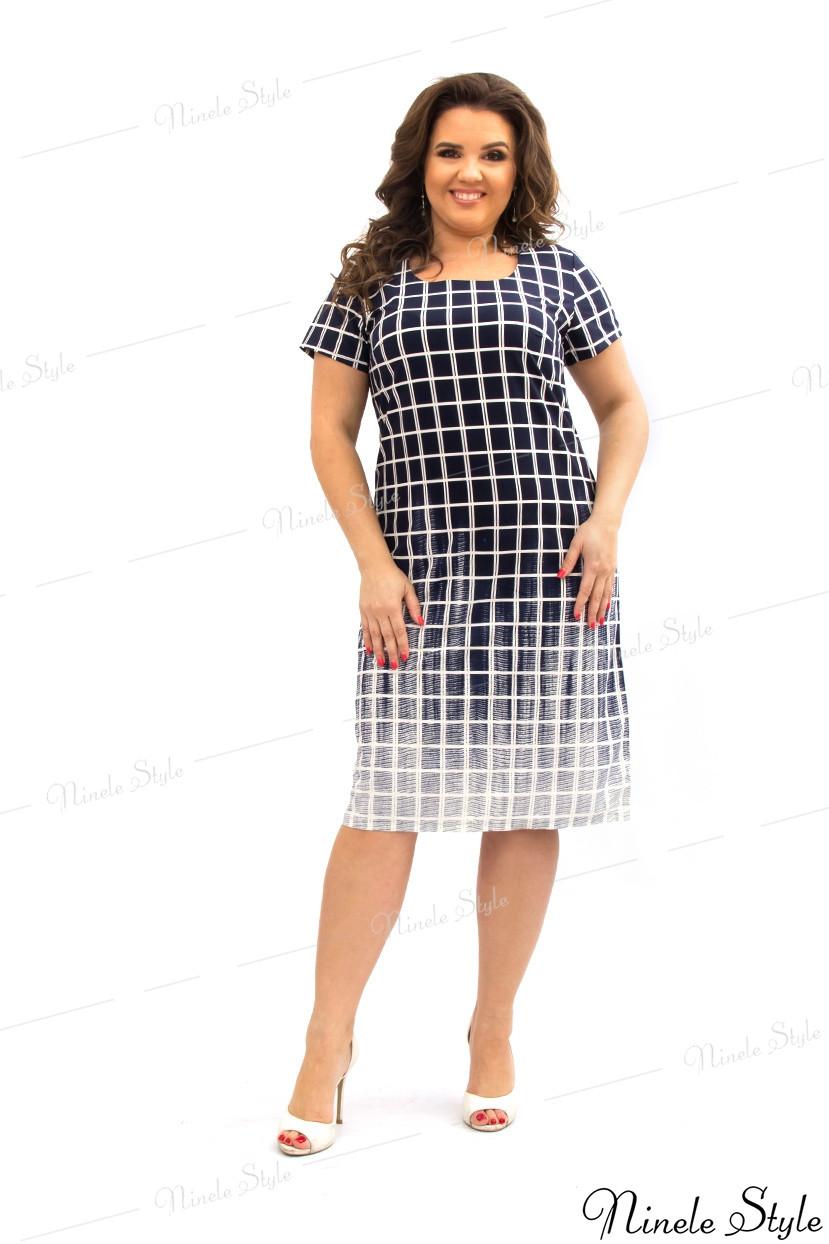 Синее повседневное женское платье в клетку с градиентом 144 54