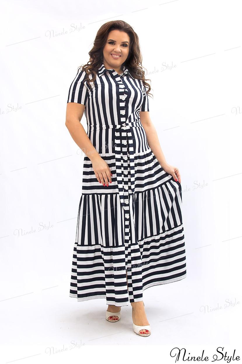 Легкое элегантное платье-халат женское в бело-черную полоску 357-1 54
