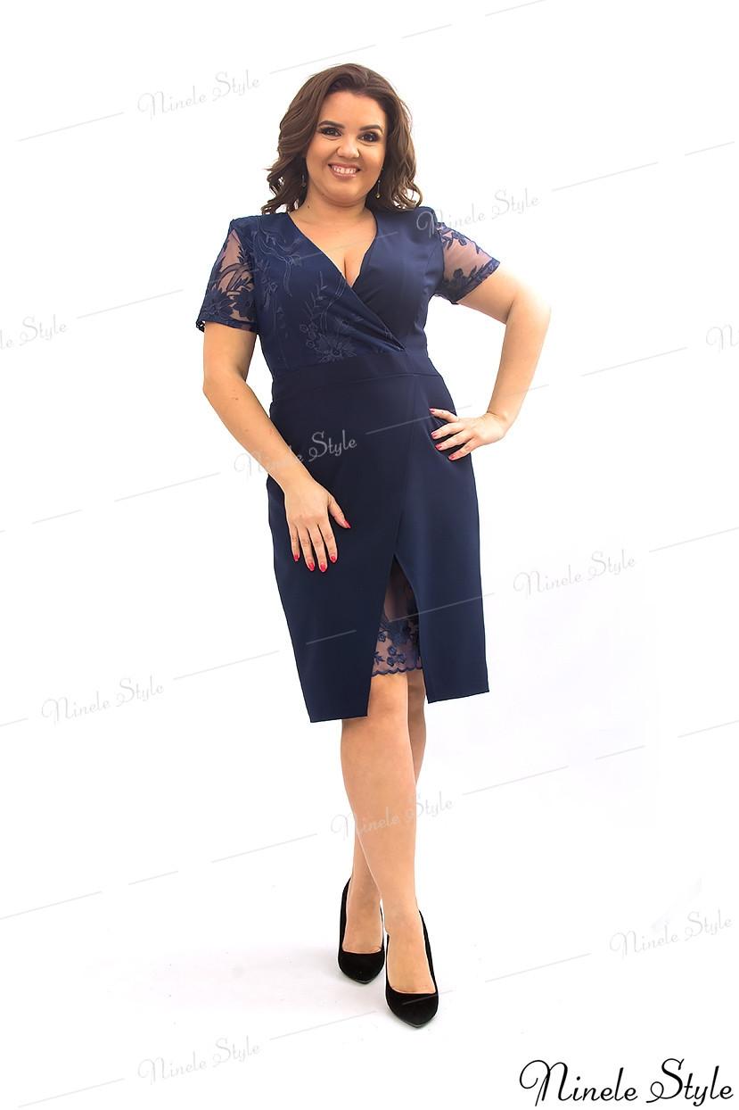 Синее вечернее женское платье украшенное сеткой с вышивкой  358 54