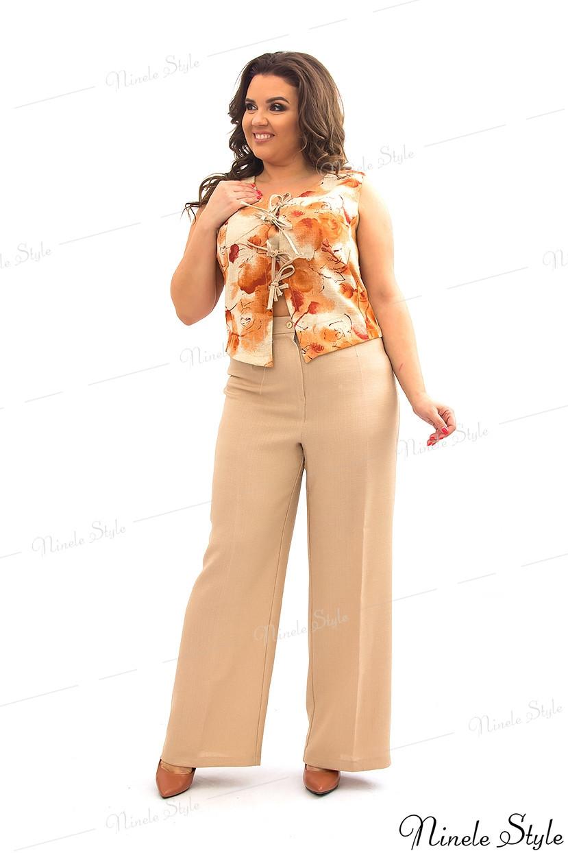 Бежевый льняной женский костюм 356-1 54