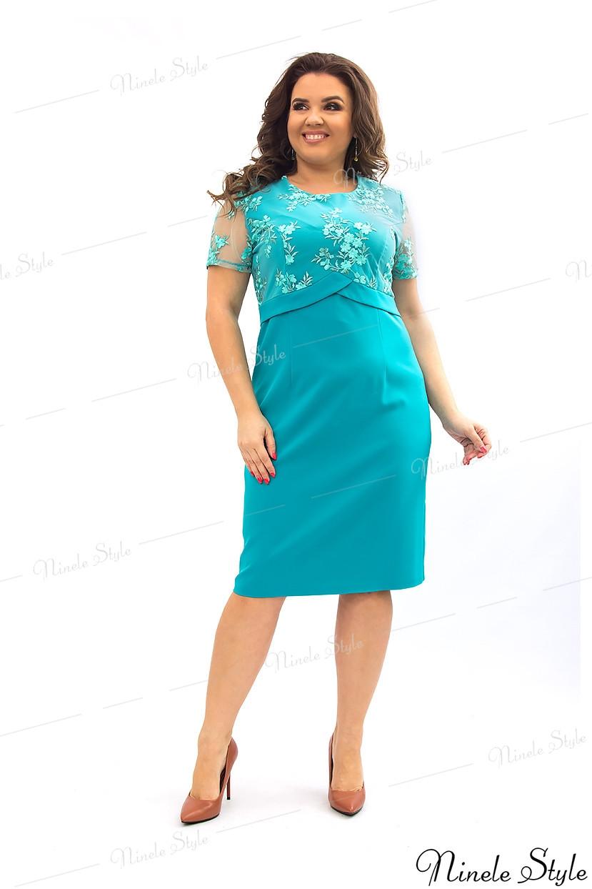 Бирюзовое однотонное платье женское украшенное сеткой с вышивкой 354 54