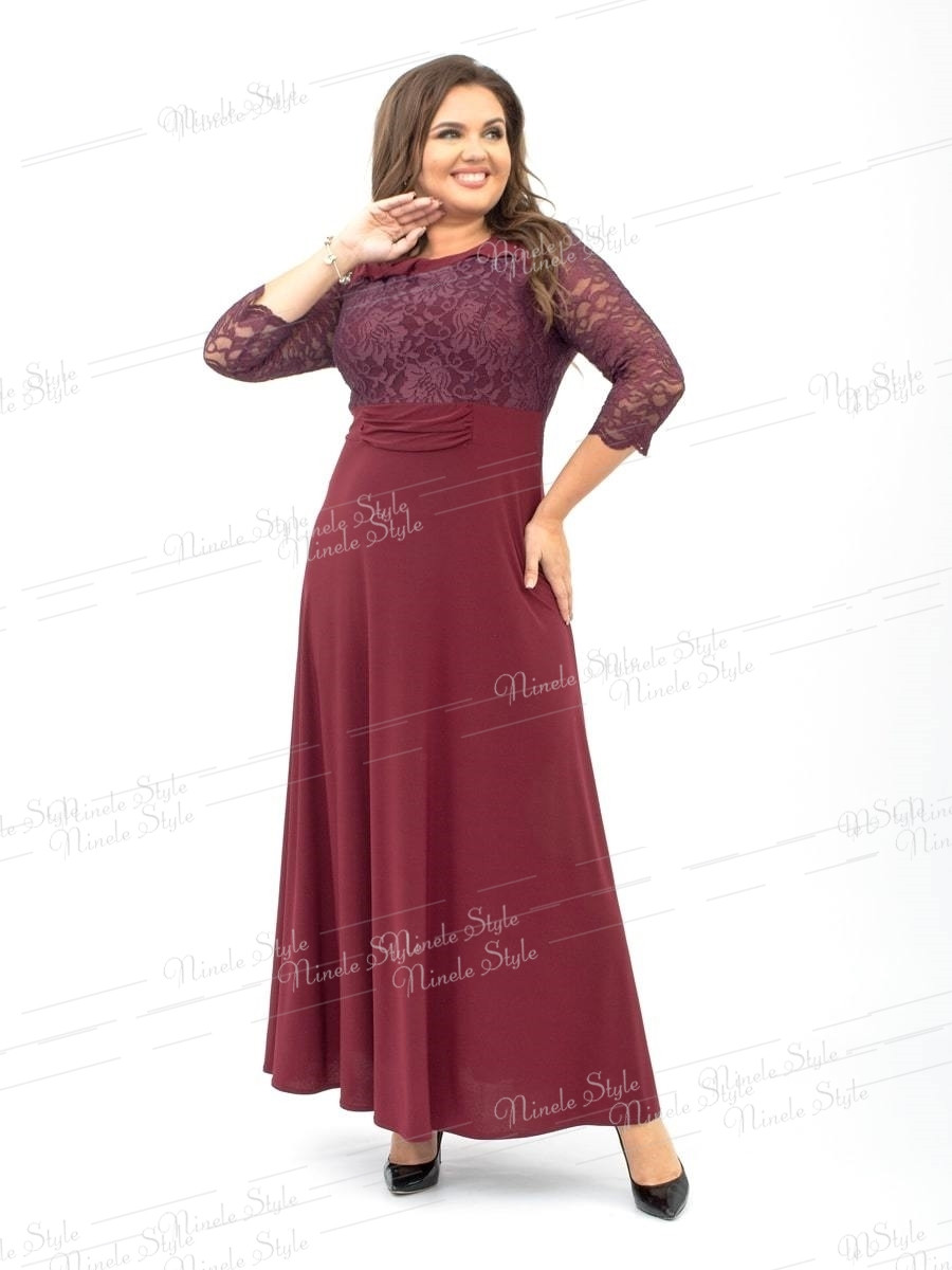 Кружевное гипюровое вечернее женское платье бордовое 256-3 54