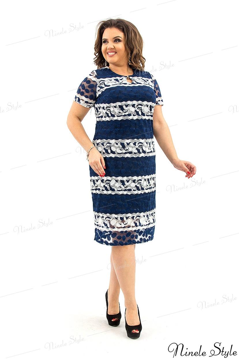 Синее женское платье миди с белой полоской узором 210 54