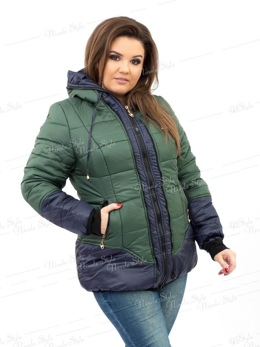 Зеленая женская куртка модель 90-3 54
