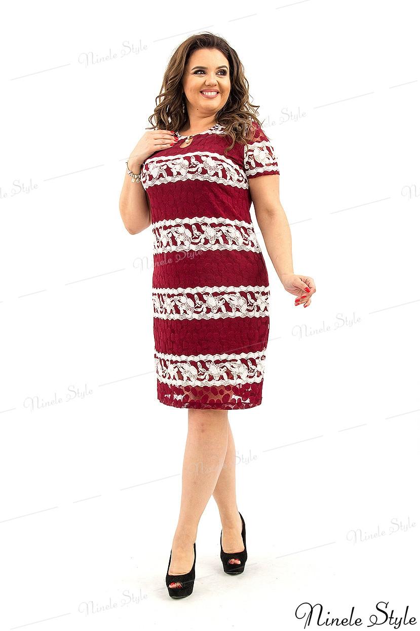Бордовое женское платье миди с белой полоской узором 210-1 56