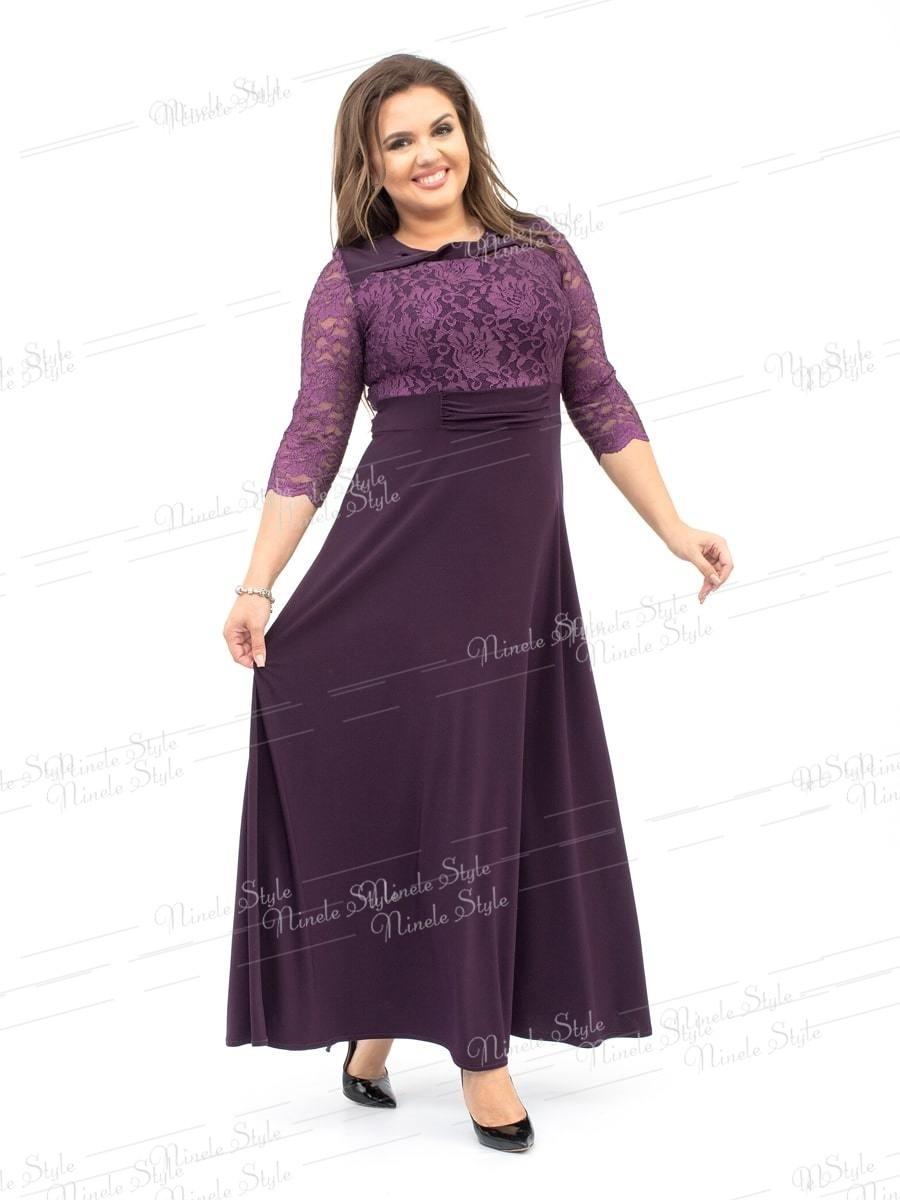 Кружевное гипюровое вечернее женское платье фиолетовое 256-2 54