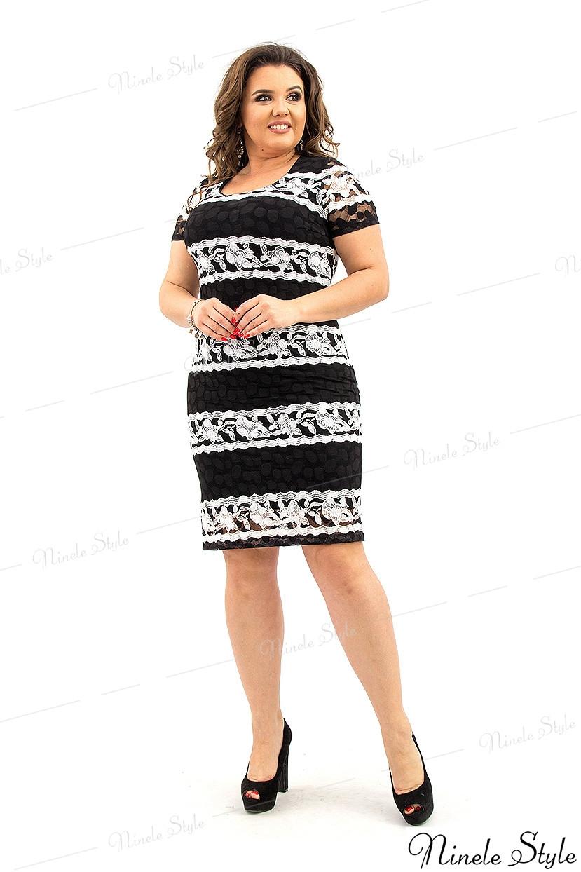 Черное женское платье миди с белой полоской узором 210-2 54