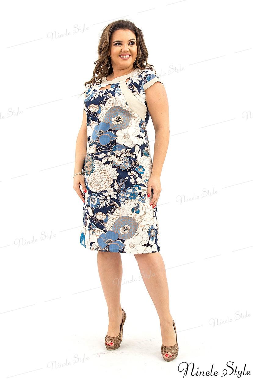 Бежевое женское платье с  цветочным узором из натурального льна 215 54