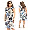 Бежевое женское платье с  цветочным узором из натурального льна 215 54, фото 4