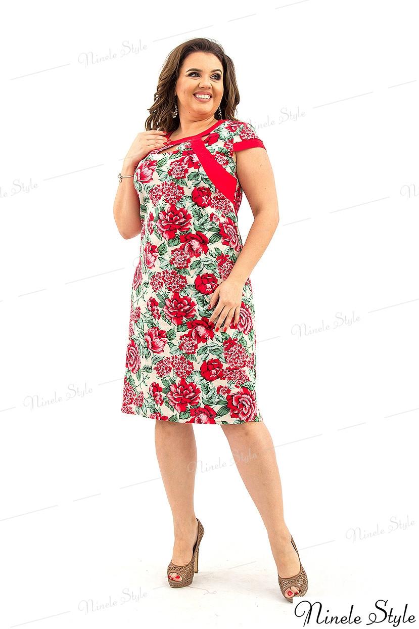 Элегантное повседневное женское платье с цветочным принтом красное 215-1 54