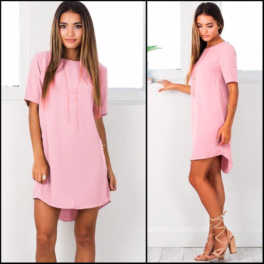 Розовое платье-рубашка Linda (Код MF-433)
