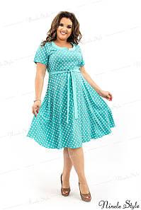 Легкое бирюзовое женское платье в горошек 33 54