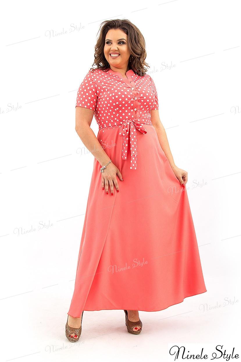Летнее женское платье из вискозы кораллового цвета 137 54