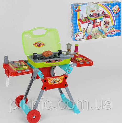 Набор барбекю с посудкой для детей, музыкальный + набор продуктов. Детский игровой набор, фото 2