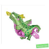 Фольгированный мини шар Динозавр зелёный 25х40 см