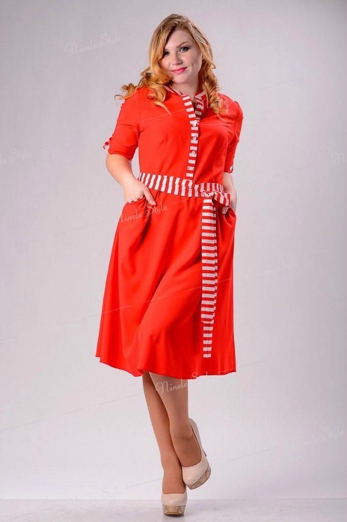 """Красное коттоновое женское платье """"Style"""" 138-2 54"""