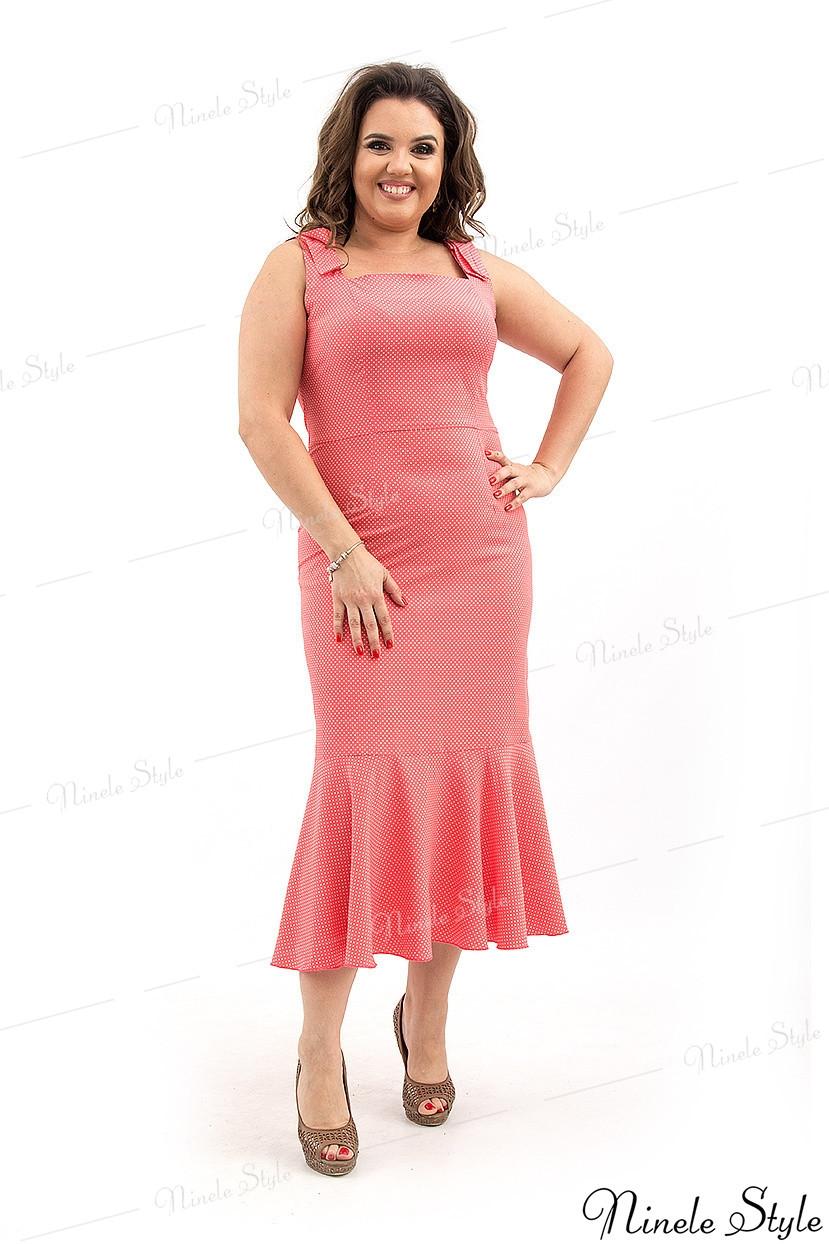 Коралловое элегантное нарядное женское платье - гороховый принт 348-2 54