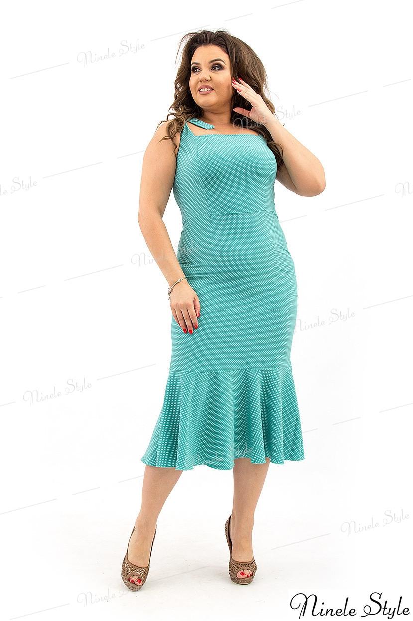 Бирюзовое элегантное нарядное женское платье - гороховый принт 348-1 54