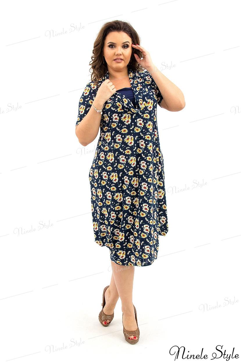 Повседневное темно-синее женское платье в цветок  352-1 58