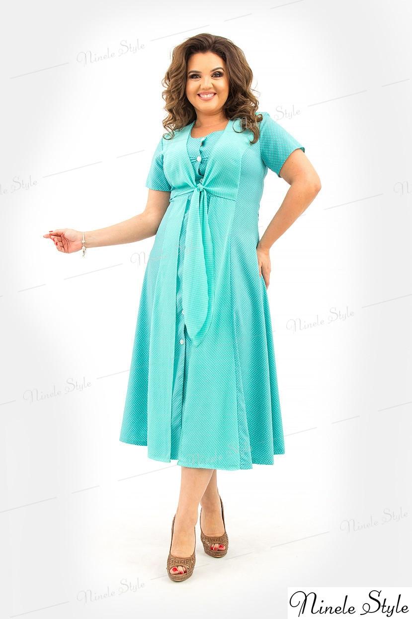 Летнее изящное бирюзовое женское платье  366 54
