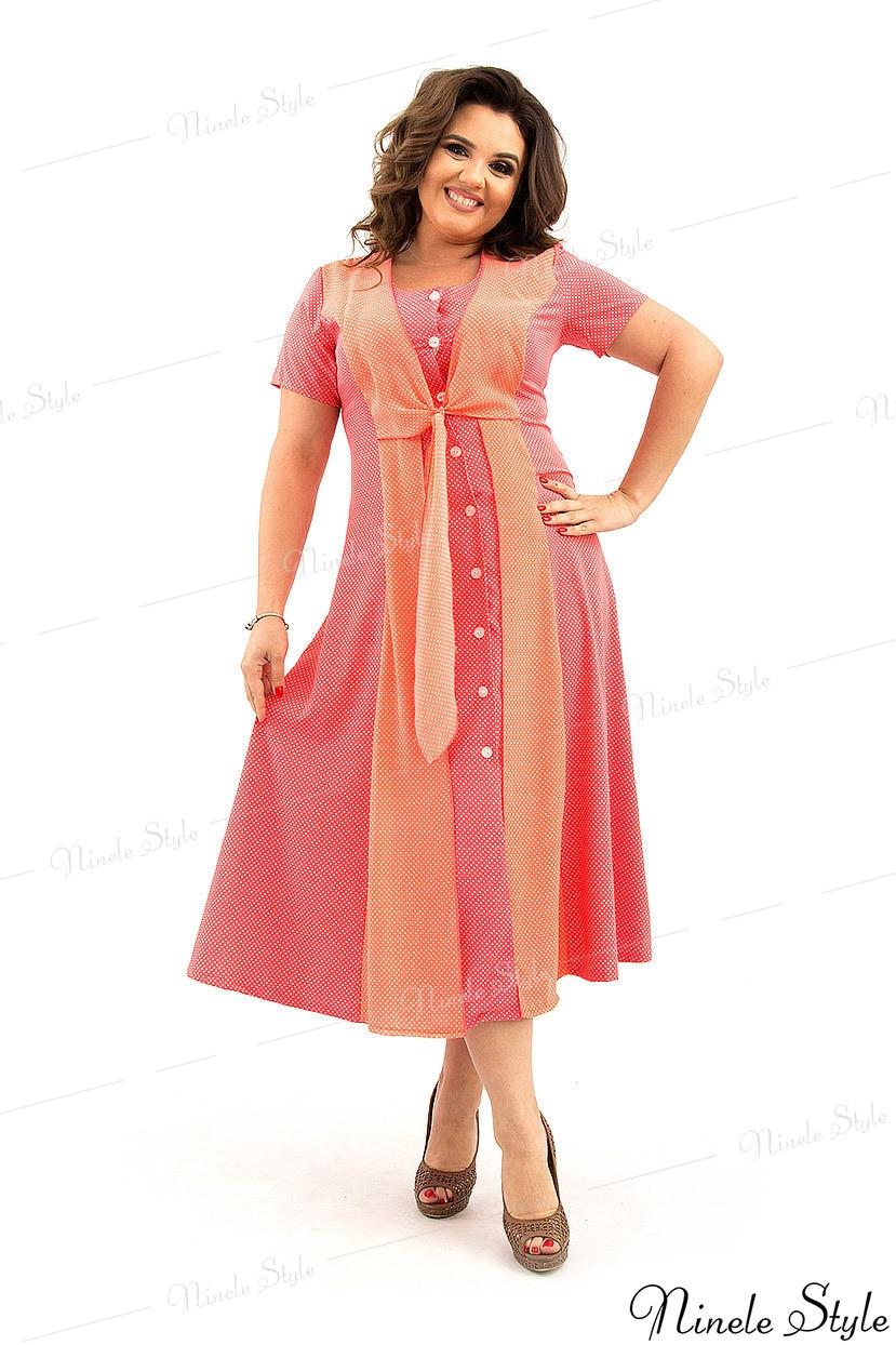 Летнее изящное коралловое женское платье  366-2 54
