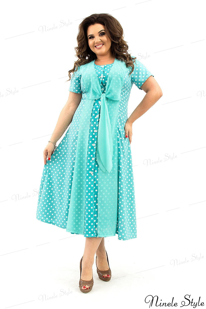 Бирюзовое вечернее женское платье в белый горошек 367-2 54