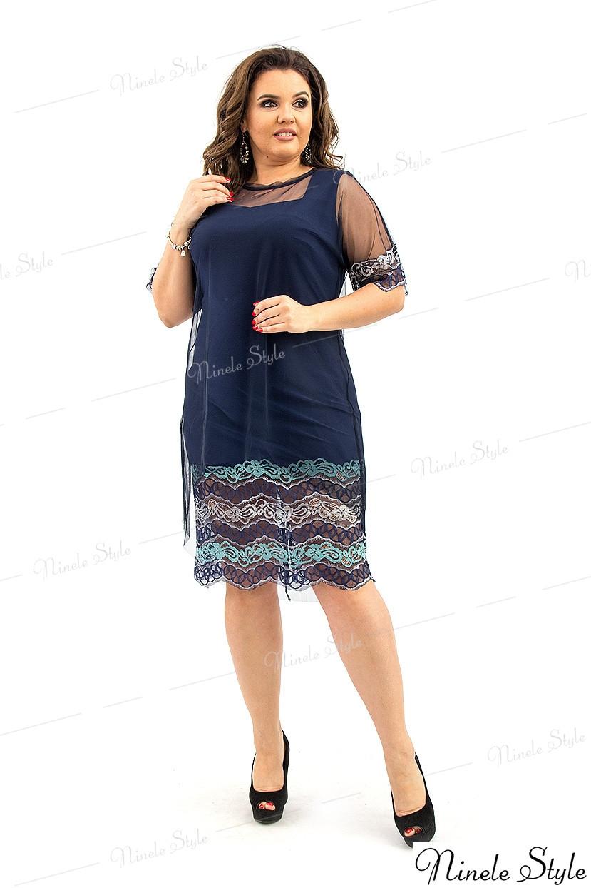 Кружевное вечернее женское платье синее 273 54