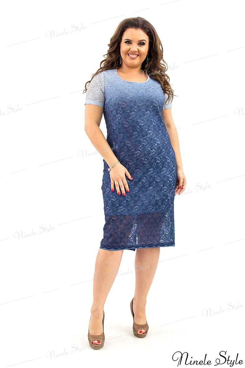 Вечернее синее женское платье с переливом из гипюра 225 54